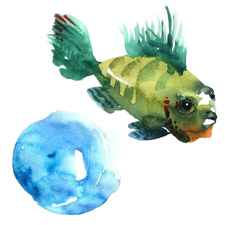 blue fish: Watercolor painted illustration of color exotic fish Stock Photo
