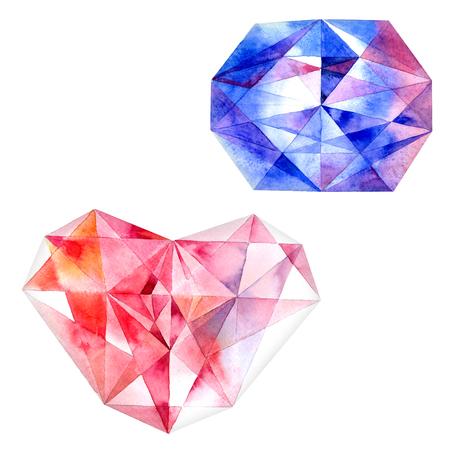 zircon: Watercolor illustration of diamond crystals