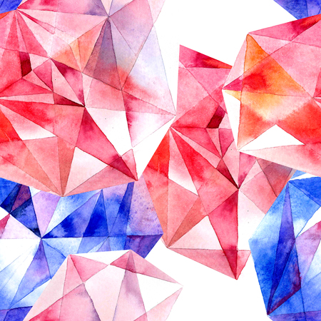 crystals: Watercolor illustration of diamond crystals - seamless pattern Stock Photo