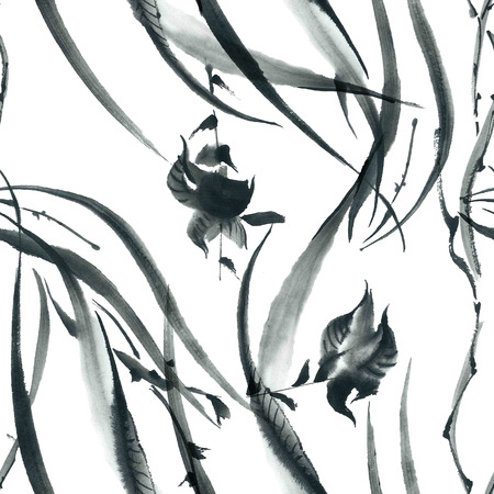 sumi e: Ink illustration of blossom orchid and grass. Sumi-e, u-sin painting. Seamless pattern.