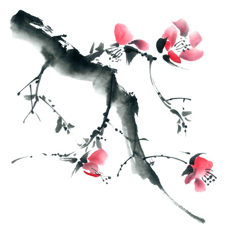 sumi e: Watercolor and ink illustration of blossom tree. Sumi-e, u-sin painting.