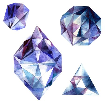 zircon: Watercolor illustration of diamond crystals. Blue ametist. Stock Photo