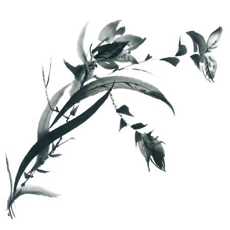 Inkt illustratie van bloesem orchidee en gras. Sumi-e, u-sin schilderij. Stockfoto