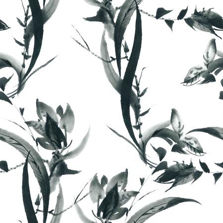 Encre illustration de fleur d'orchidée et de l'herbe. Sumi-e, u-sin peinture. Seamless. Banque d'images