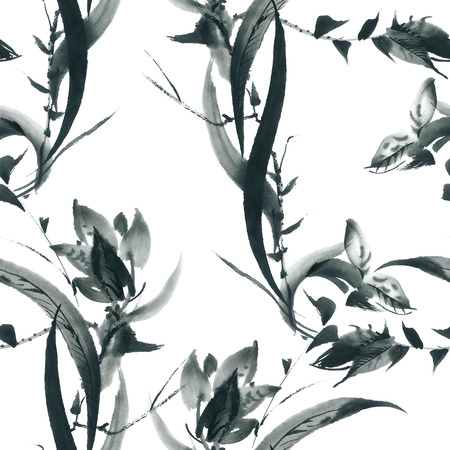 Ink illustration of blossom orchid and grass. Sumi-e, u-sin painting. Seamless pattern.