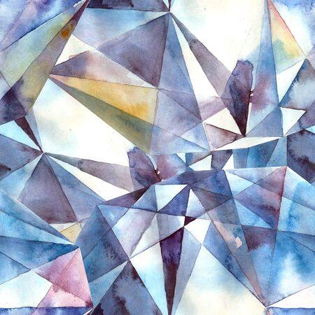 zircon: Watercolor illustration of diamond crystals - seamless pattern Stock Photo