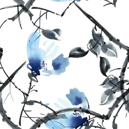 aquarell: Watercolor and ink illustration of flowers in style sumi-e, u-sin. Oriental traditional painting.  Seamless pattern. Stock Photo