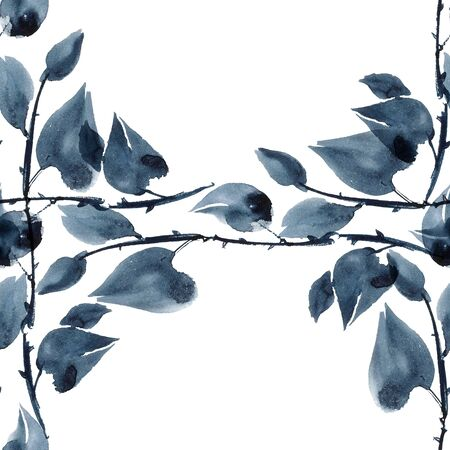 aquarell: Watercolor and ink illustration of plants in style sumi-e, u-sin. Oriental traditional painting.  Seamless pattern. Stock Photo