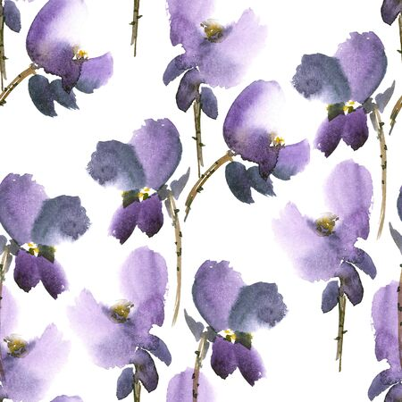 gohua: Watercolor and ink illustration of violet  flowers in style sumi-e, u-sin, gohua. Oriental traditional painting.  Seamless pattern.