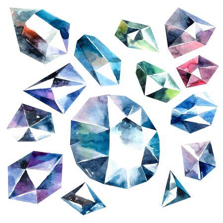 zircon: Watercolor illustration of diamond crystals. Pink ametist.