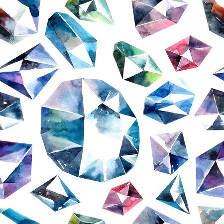 Aquarell-Illustration von Diamantkristallen - nahtlose Muster