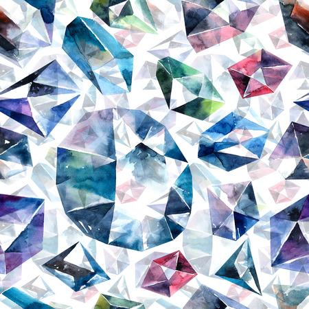 Watercolor illustration of diamond crystals - seamless pattern Stock Photo