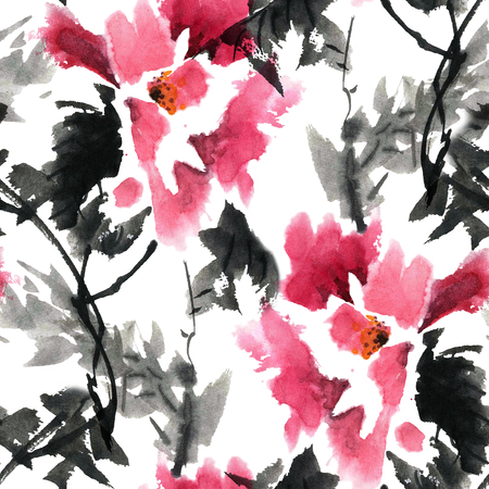 gohua: Watercolor and ink illustration of blossom flowers. Gohua, sumi-e, u-sin painting. Seamless pattern. Stock Photo