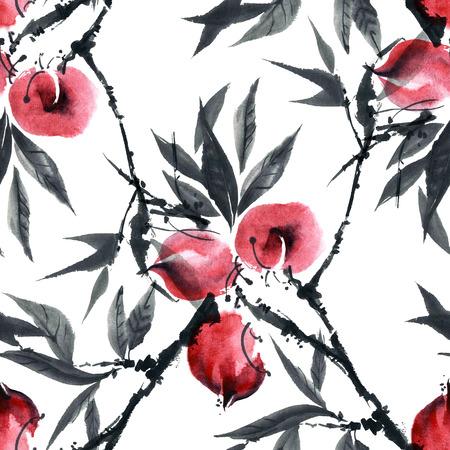 gohua: Watercolor and ink illustration of peach tree. Gohua, sumi-e, u-sin painting. Seamless pattern.