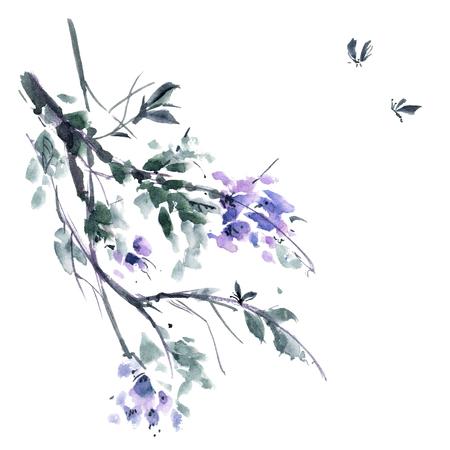 gohua: Watercolor and ink illustration of blossom tree. Gohua, sumi-e, u-sin painting.