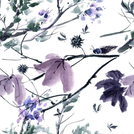Waterverf en inkt illustratie van de boom en insecten. Gohua, sumi-e, u-sin schilderij. Naadloos patroon.
