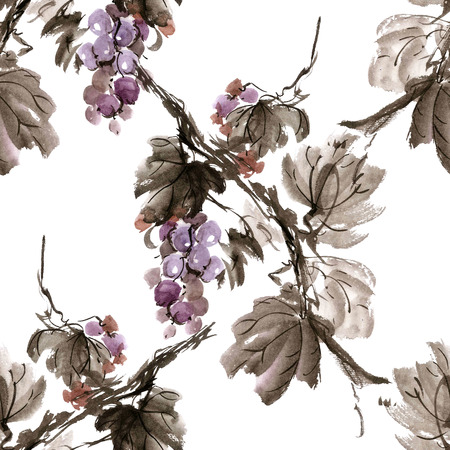 gohua: Watercolor and ink illustration of  grapevine. Gohua, sumi-e, u-sin painting.  Seamless pattern.