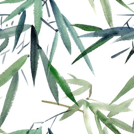 스타일 미 - 전자 대나무의 수채화 및 잉크 그림, U-죄. 동양 전통 회화. 원활한 패턴입니다.