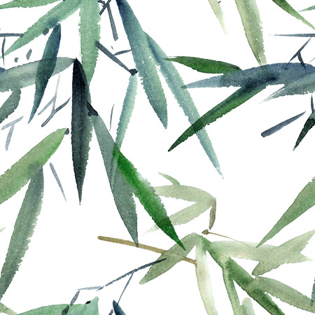 Watercolor and ink illustration of bamboo in style sumi-e, u-sin. Oriental traditional painting.  Seamless pattern.