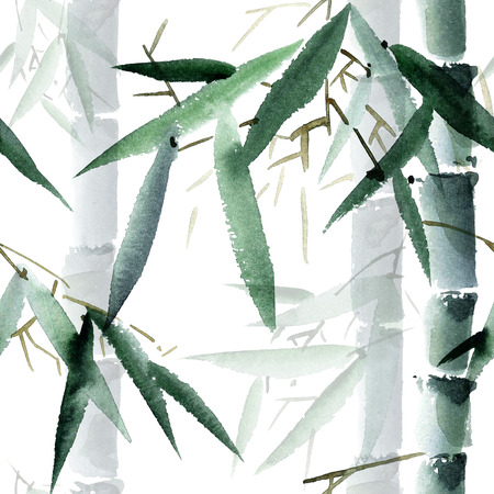 tropical garden: Watercolor and ink illustration of bamboo in style sumi-e, u-sin. Oriental traditional painting.  Seamless pattern.