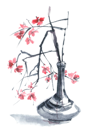 Stilleven van de waterverf - sakura in een vaas. Sumi-e, u-sin, gohua schilderen. Stockfoto