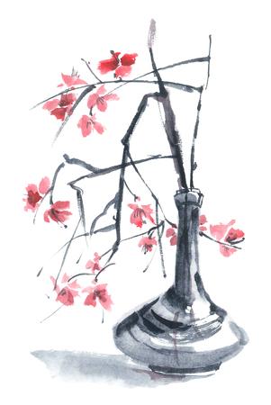 gohua: Watercolor still life - sakura in a vase. Sumi-e, u-sin, gohua painting. Stock Photo