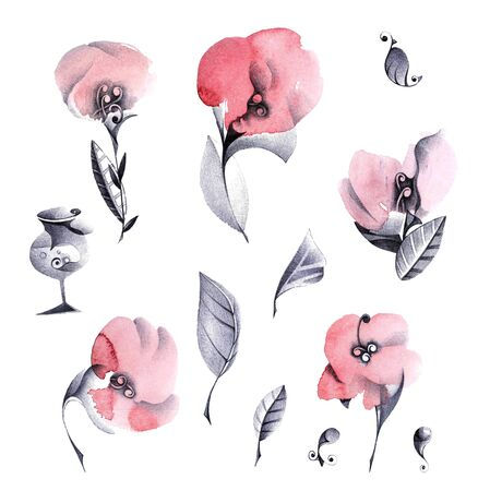 ewer: Stylized flowers with ewer and decorative elements. Hand drawn graphic illustration.