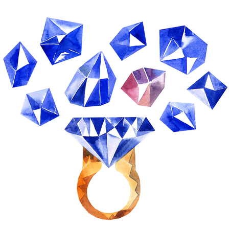 sapphire: Watercolor illustration of diamond crystals and ring with sapphire Stock Photo