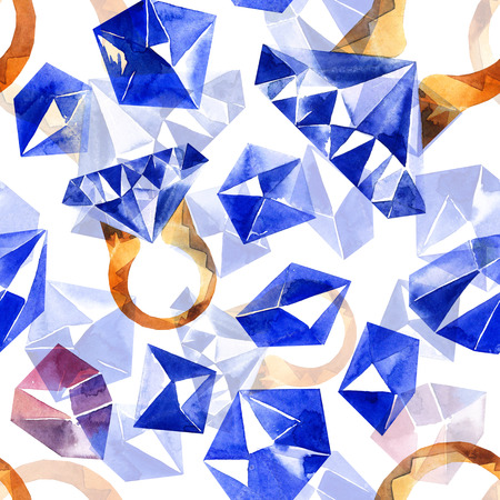 gemstone: Watercolor illustration of diamond crystals and ring with sapphire. Seamless pattern.