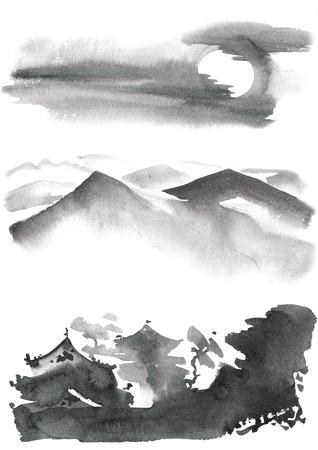 gohua: Watercolor and ink chinese landscape - sky, mountanis, trees, pagoda. Sumi-e, u-sin, gohua painting.