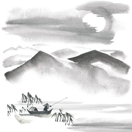 Watercolor and ink painting - chinese fishman, bamboo, pine trees, mountains, sky. Sumi-e, u-sin, gohua painting.