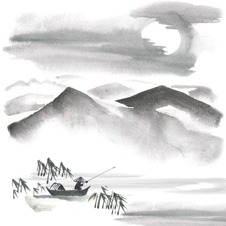 Waterverf en inkt schilderij - chinese Fishman, bamboe, dennen, bergen, hemel. Sumi-e, u-sin, gohua schilderen. Stockfoto