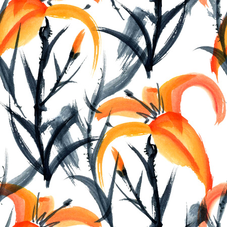 gohua: Lily. Watercolor and ink painting in style gohua, sumi-e, u-sin. Oriental traditional painting. Seamless pattern.