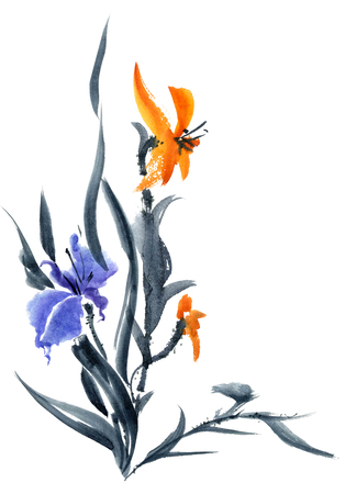 gohua: Lily and iris. Watercolor and ink painting in style gohua, sumi-e, u-sin. Oriental traditional painting.