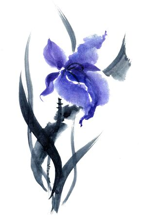 gohua: Iris. Watercolor and ink painting in style gohua, sumi-e, u-sin. Oriental traditional painting.