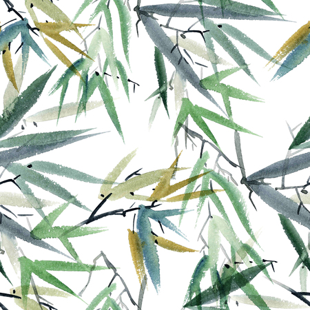 gohua: Watercolor and ink illustration of bamboo in style sumi-e, u-sin. Oriental traditional painting.  Seamless pattern.
