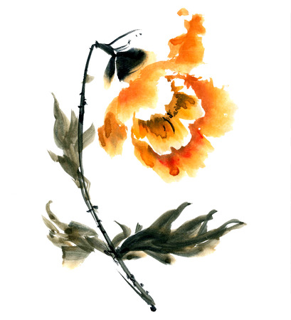 gohua: Peony flower. Watercolor and ink illustration in style gohua, sumi-e, u-sin. Oriental traditional painting Stock Photo