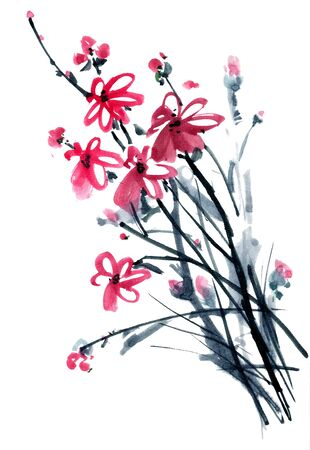 gohua: Peony flower. Watercolor and ink illustration in style gohua, sumi-e, u-sin of chrysanthemum bouquet. Oriental traditional painting
