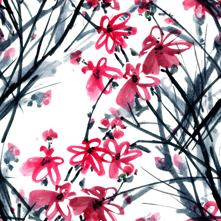 gohua: Peony flower. Watercolor and ink illustration in style gohua, sumi-e, u-sin of chrysanthemum bouquet. Oriental traditional painting. Seamless pattern.