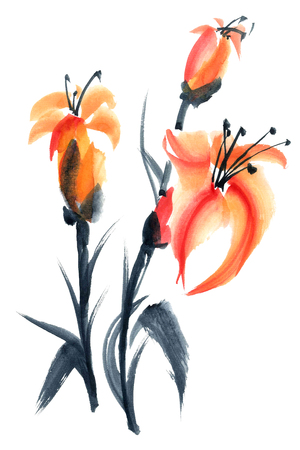 gohua: Lily. Watercolor and ink painting in style gohua, sumi-e, u-sin. Oriental traditional painting.