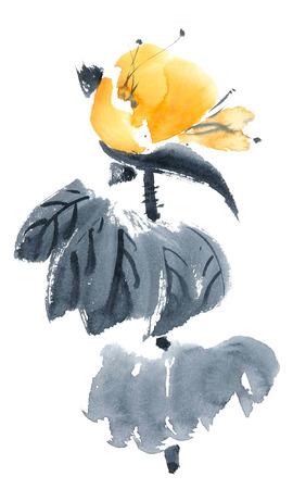 Lotus bud. Aquarel en inkt schilderen in stijl gohua, sumi-e, u-zonde. Oosterse traditionele schilderkunst. Stockfoto