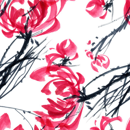 gohua: Watercolor and ink illustration in style gohua, sumi-e, u-sin of chrysanthemum bouquet. Oriental traditional painting. Seamless pattern. Stock Photo