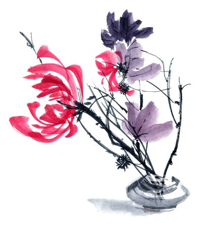 gohua: Watercolor and ink illustration in style gohua, sumi-e, u-sin of chrysanthemum bouquet in vase. Oriental traditional painting Stock Photo