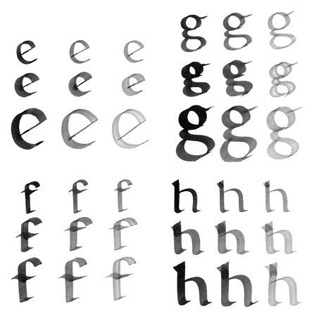 e ink: Letters e, f, g, h. Hand painted by black ink. Stock Photo