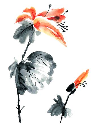 gohua: Watercolor and ink illustration of flowers and buds in style sumi-e, u-sin. Oriental traditional painting