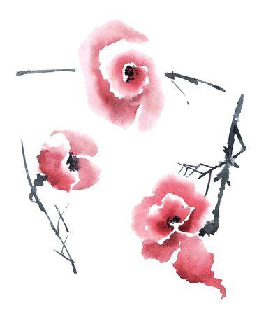 Waterverf en inkt illustratie van bloemen.