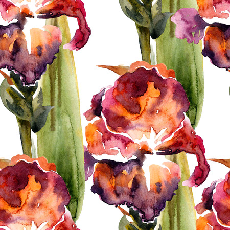 Flower. Watercolor and ink painting. Botanical illustration. Seamless pattern. Stock Photo