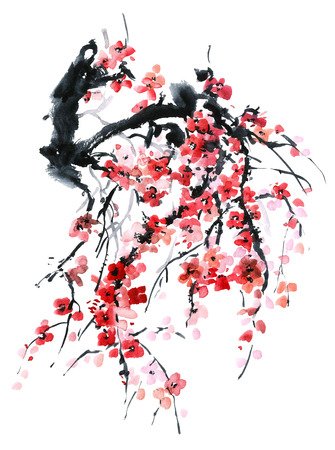 Watercolor and ink illustration in style sumi-e, u-sin. Oriental traditional painting