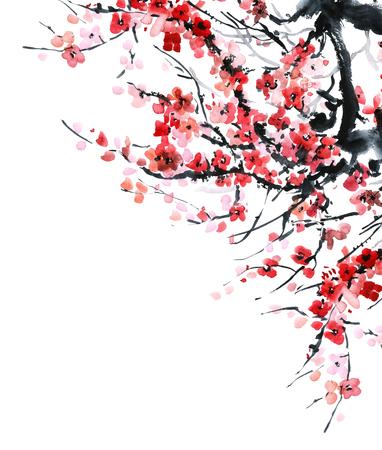 Waterverf en inktillustratie in stijl sumi-e, u-zonde. Oosterse traditionele schilderij. Mooie achtergrond voor kaart of uitnodiging.