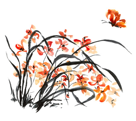gohua: Watercolor and ink illustration of blossom flower. Gohua, sumi-e, u-sin painting.
